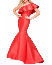 Jovani | Red Ruffle One-shoulder Mermaid Gown | Lyst