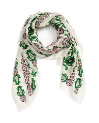 Tory Burch | Green Garden Party Oblong Wool Scarf | Lyst