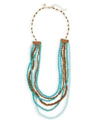 Panacea | Blue Wood & Stone Beaded Multistrand Necklace | Lyst