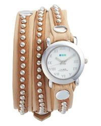 La Mer Collections | Multicolor Bali Stud Leather Wrap Strap Watch | Lyst