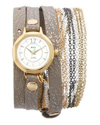 La Mer Collections | Metallic Del Mar Leather & Chain Wrap Strap Watch | Lyst