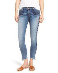 Band Of Gypsies Blue Lola Embroidered Ankle Jeans