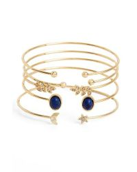 TOPSHOP | Metallic Set Of 5 Lapis & Crystal Bar Cuffs | Lyst