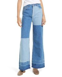 Free People | Blue The Wideleg High Waist Patchwork Jeans | Lyst