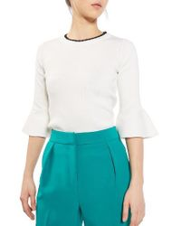 TOPSHOP | White Scallop Neck Fluted Sweater | Lyst
