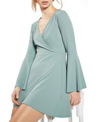 TOPSHOP | Blue Flute Sleeve Skater Dress | Lyst