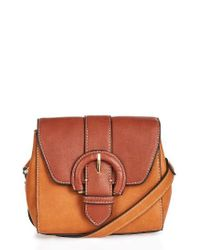 TOPSHOP | Brown Vinny Faux Leather Saddle Bag | Lyst