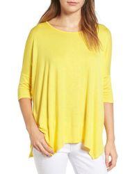 Bobeau | Yellow Handkerchief Hem Slub Knit Tee | Lyst