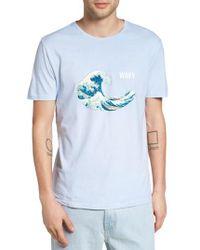 Altru Blue Wavy Hokusai Graphic T-shirt for men