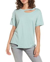 TOPSHOP | Green Ripped Cotton Tee | Lyst