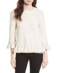 Kate Spade - Natural Textured Tassel Pullover - Lyst