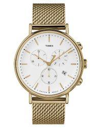 Timex   Metallic Timex Fairfield Chronograph Mesh Strap Watch   Lyst