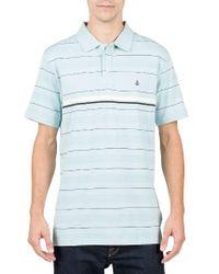 Volcom | Blue Wowzer Stripe Jacquard Polo for Men | Lyst