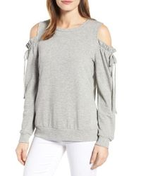 Pleione - Gray Paperbag Sleeve Cold Shoulder Pullover - Lyst