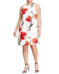 Lauren by Ralph Lauren - Red Floral Pleat Shift Dress - Lyst