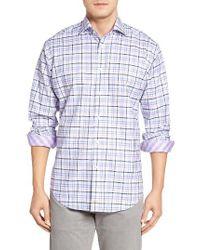 Thomas Dean | Purple Classic Fit Dobby Plaid Sport Shirt for Men | Lyst