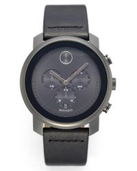 Movado - Black Bold Chronograph Leather Strap Watch for Men - Lyst