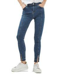 TOPSHOP - Blue Jamie Split Released Hem Skinny Jeans - Lyst