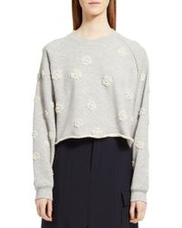 Chloé - Gray Floral Embroidered Sweatshirt - Lyst