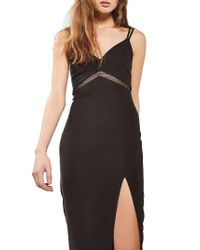 TOPSHOP | Black Mesh Inset Body-con Dress | Lyst