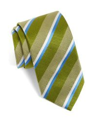 David Donahue   Green Stripe Silk Tie for Men   Lyst