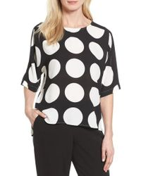 Vince Camuto | Black Polka Dot High/low Blouse | Lyst