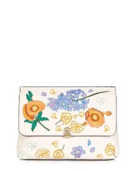 TOPSHOP | Blue Floral Embroidered Faux Leather Clutch | Lyst