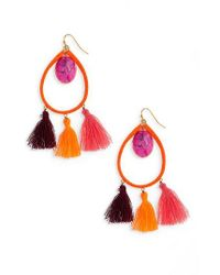 Panacea   Orange Stone Tassel Earrings   Lyst
