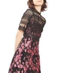 TOPSHOP | Black Lace & Jacquard Dress | Lyst