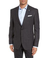 Ted Baker | Gray Jay Trim Fit Check Wool Sport Coat for Men | Lyst
