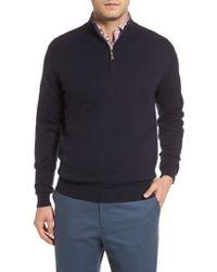 Peter Millar | Blue Mock Neck Quarter Zip Wool & Cotton Sweater for Men | Lyst