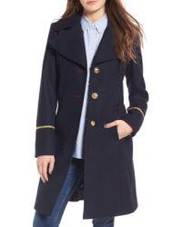 Sam Edelman - Blue Wool Blend A-line Military Coat - Lyst