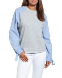 Caslon | Gray Caslon Contrast Tie Sleeve Sweatshirt | Lyst