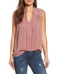 Caslon - Red Caslon Lace Applique Top - Lyst