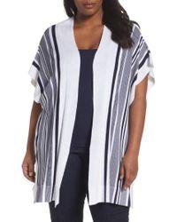 Foxcroft   Blue Kris Stripe Knit Open Cardigan   Lyst