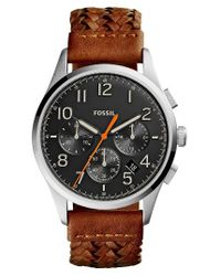 Fossil - Multicolor Vintage 54 Chronograph Leather Strap Watch for Men - Lyst