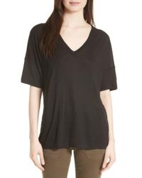 Vince | Black Drop Shoulder V-neck Tee | Lyst