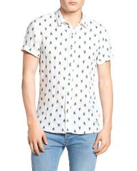 Scotch & Soda - White Extra Slim Fit Print Linen Sport Shirt for Men - Lyst
