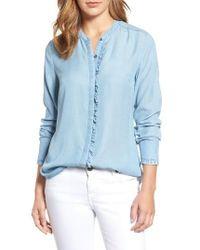 Kut From The Kloth   Blue Ruffle Trim Chambray Shirt   Lyst