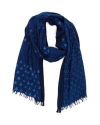 Eileen Fisher - Blue Mix Print Organic Cotton Scarf - Lyst