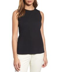 Eileen Fisher - Black Organic Cotton Jersey Shell - Lyst