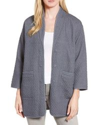 Eileen Fisher - Gray Long Cotton Jacquard Jacket - Lyst