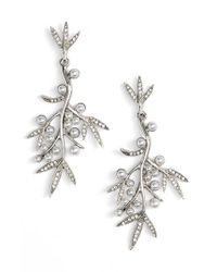 Oscar de la Renta | Metallic Imitation Pearl & Crystal Drop Earrings | Lyst