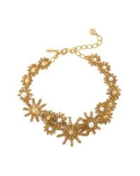 Oscar de la Renta | Metallic Imitation Pearl Collar Necklace | Lyst