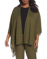 Eileen Fisher | Green Hemp Blend Poncho Wrap | Lyst