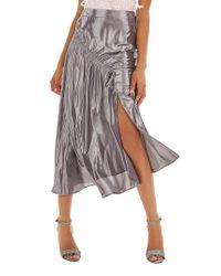 TOPSHOP | Ruched Metallic Midi Skirt | Lyst