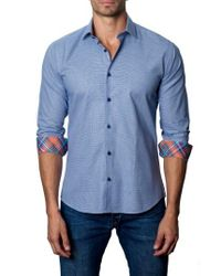 Jared Lang - Blue Trim Fit Micro Grid Sport Shirt for Men - Lyst