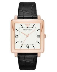 Emporio Armani | Brown Square Leather Strap Watch | Lyst