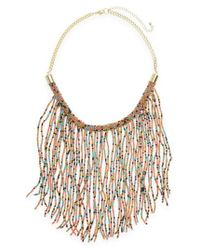 Panacea | Multicolor Beaded Fringe Statement Necklace | Lyst