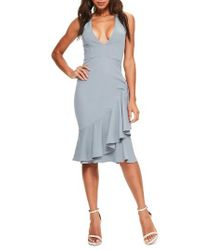 Missguided - Blue Sleeveless Crepe Dress - Lyst